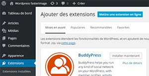 Installation du plugin word press